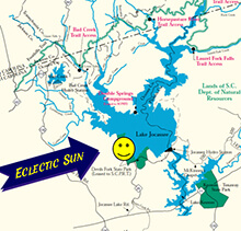 Eclectic Sun LLC Directions Map, Canoes, Kayaks, Paddle Boards, Pontoon Boats, Eclectic Sun LLC, Salem, South Carolina